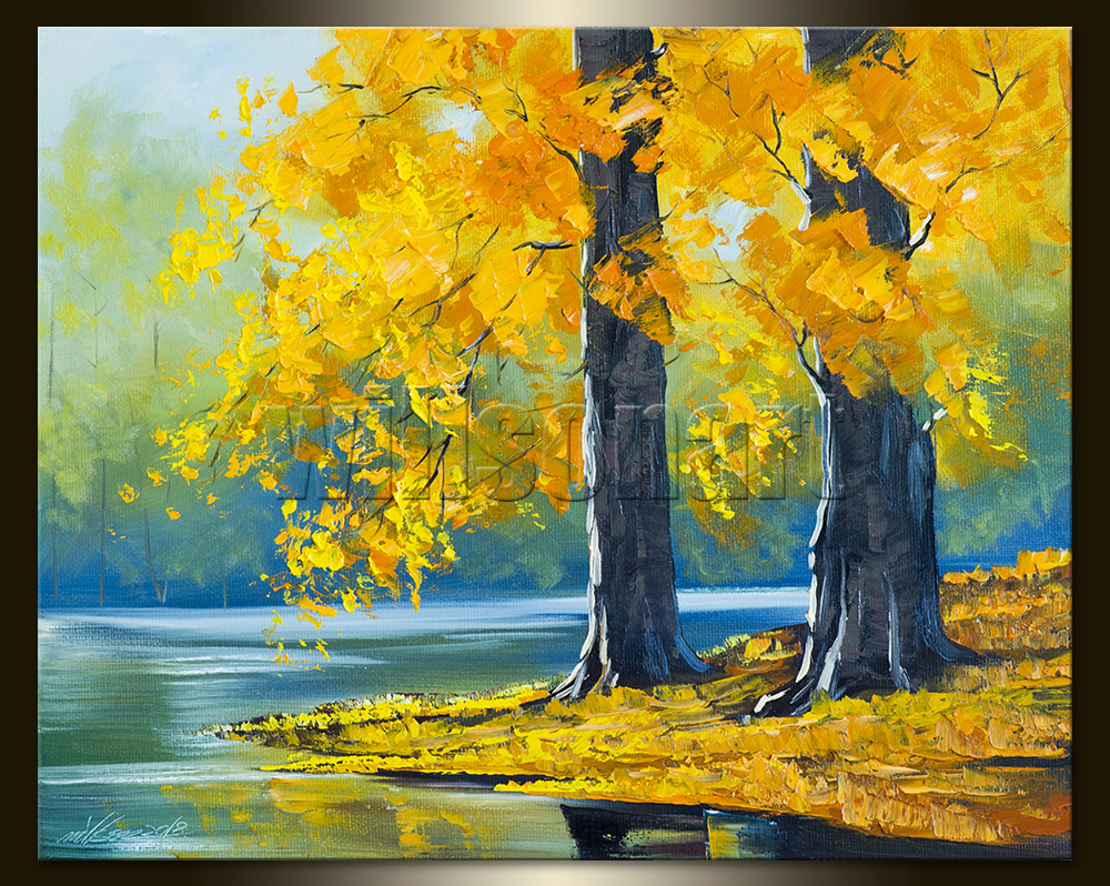 Autumn Lake Landscape Painting