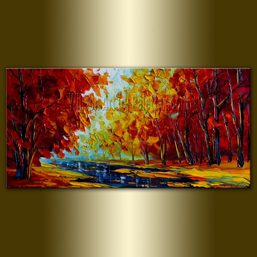 Autumn Landscape Giclee Canvas Print from Original Oil Painting by Willson  Lau Modern Tree Art