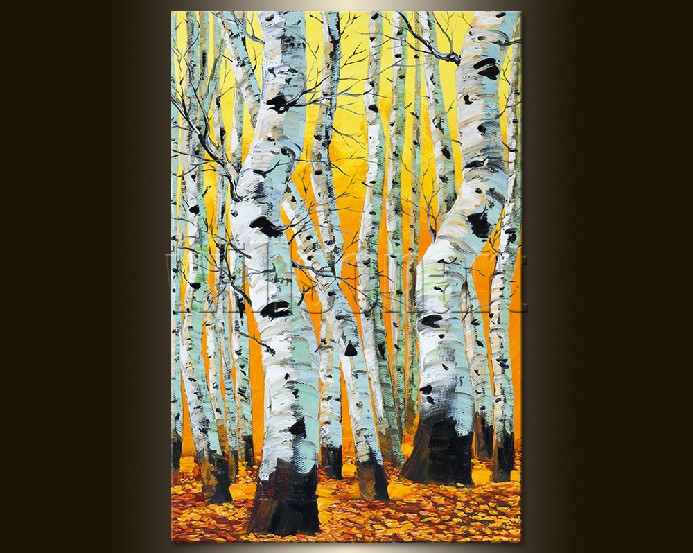 Autumn Birch Forest Seasons Landscape Painting