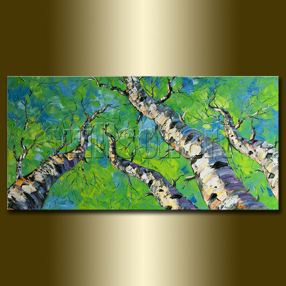 Seasons Birch Landscape Giclee Canvas Print from Original Oil Painting by  Willson Lau