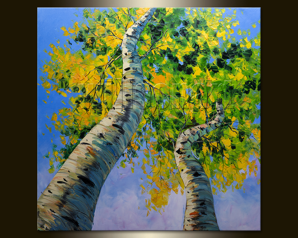 Landscape Painting Birch Forest Oil on Canvas