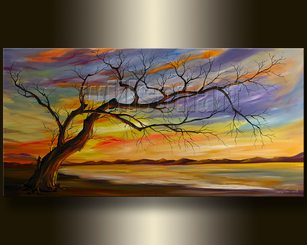 Modern Landscape Original Canvas Oil Painting Abstract Tree Art